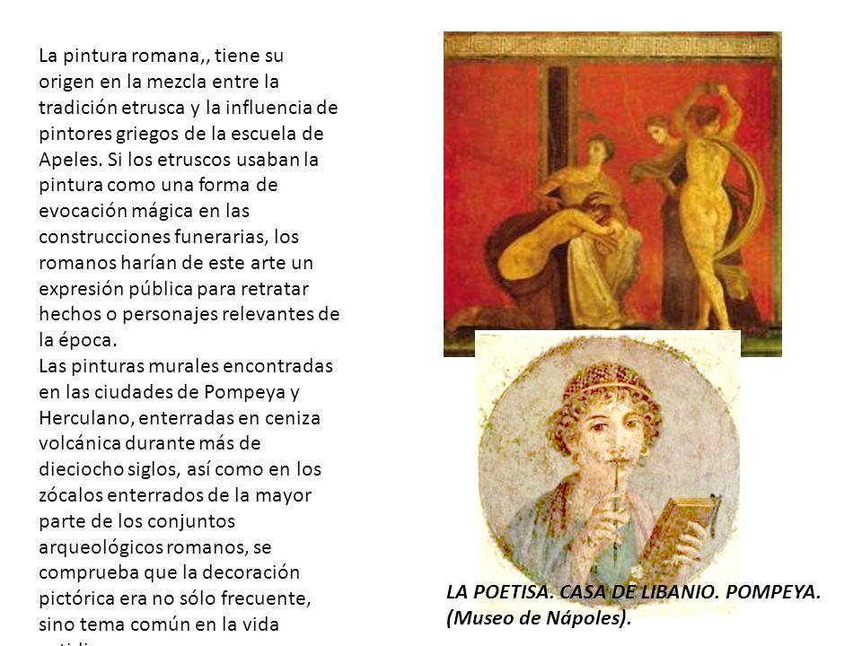 La pintura romana,, tiene su origen en la mezcla entre la tradición etrusca y la influencia de pintores griegos de la escuela de Apeles. Si los etrusc