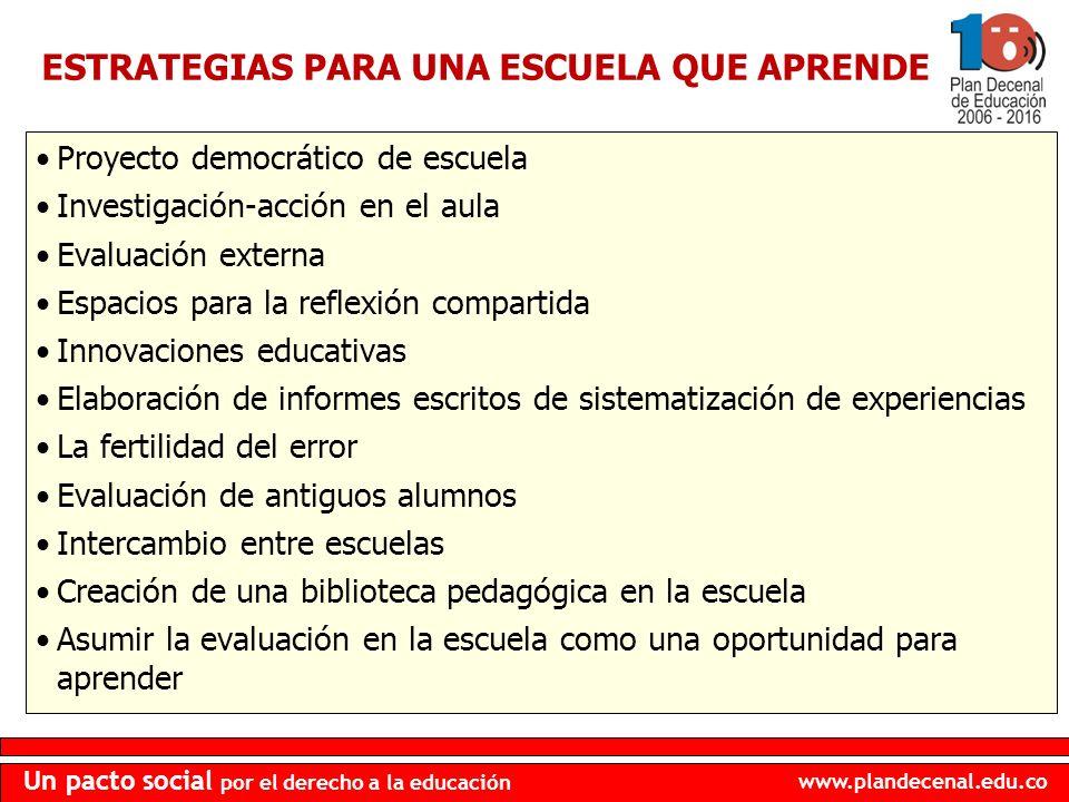 www.plandecenal.edu.co Un pacto social por el derecho a la educación Proyecto democrático de escuela Investigación-acción en el aula Evaluación extern