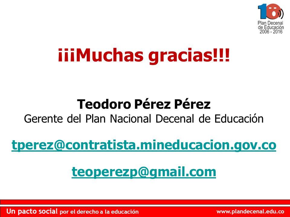 www.plandecenal.edu.co Un pacto social por el derecho a la educación ¡¡¡Muchas gracias!!! Teodoro Pérez Pérez Gerente del Plan Nacional Decenal de Edu