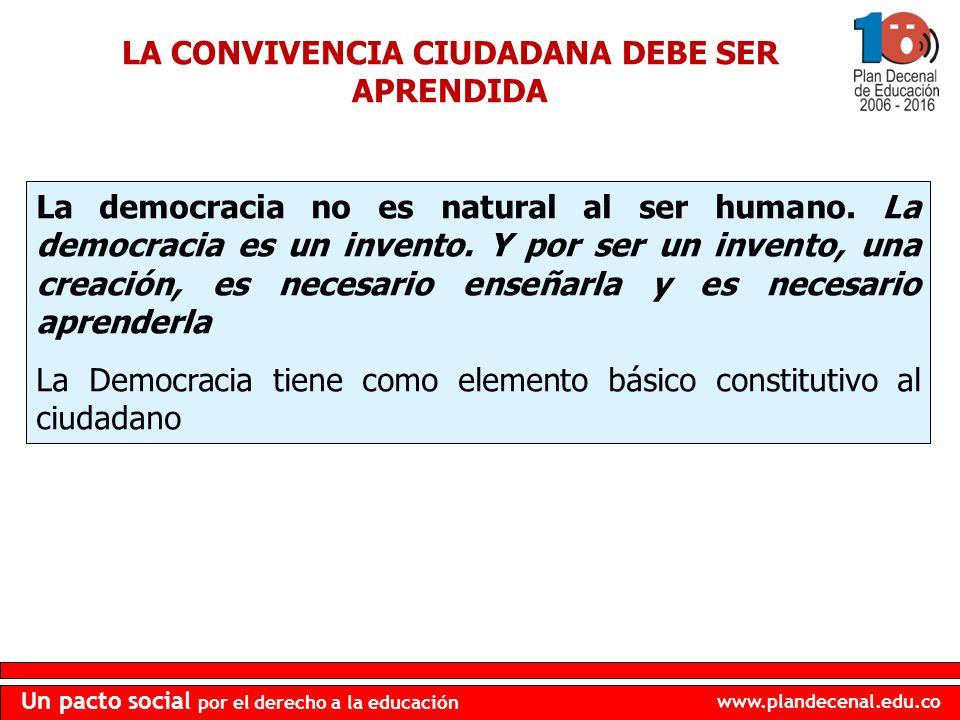 www.plandecenal.edu.co Un pacto social por el derecho a la educación LA CONVIVENCIA CIUDADANA DEBE SER APRENDIDA La democracia no es natural al ser hu