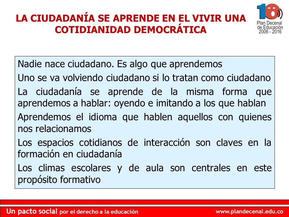 www.plandecenal.edu.co Un pacto social por el derecho a la educación LA CIUDADANÍA SE APRENDE EN EL VIVIR UNA COTIDIANIDAD DEMOCRÁTICA Nadie nace ciud