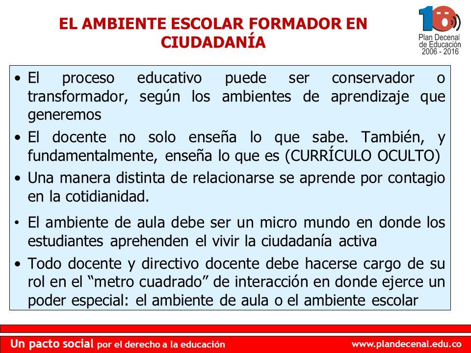 www.plandecenal.edu.co Un pacto social por el derecho a la educación El proceso educativo puede ser conservador o transformador, según los ambientes d
