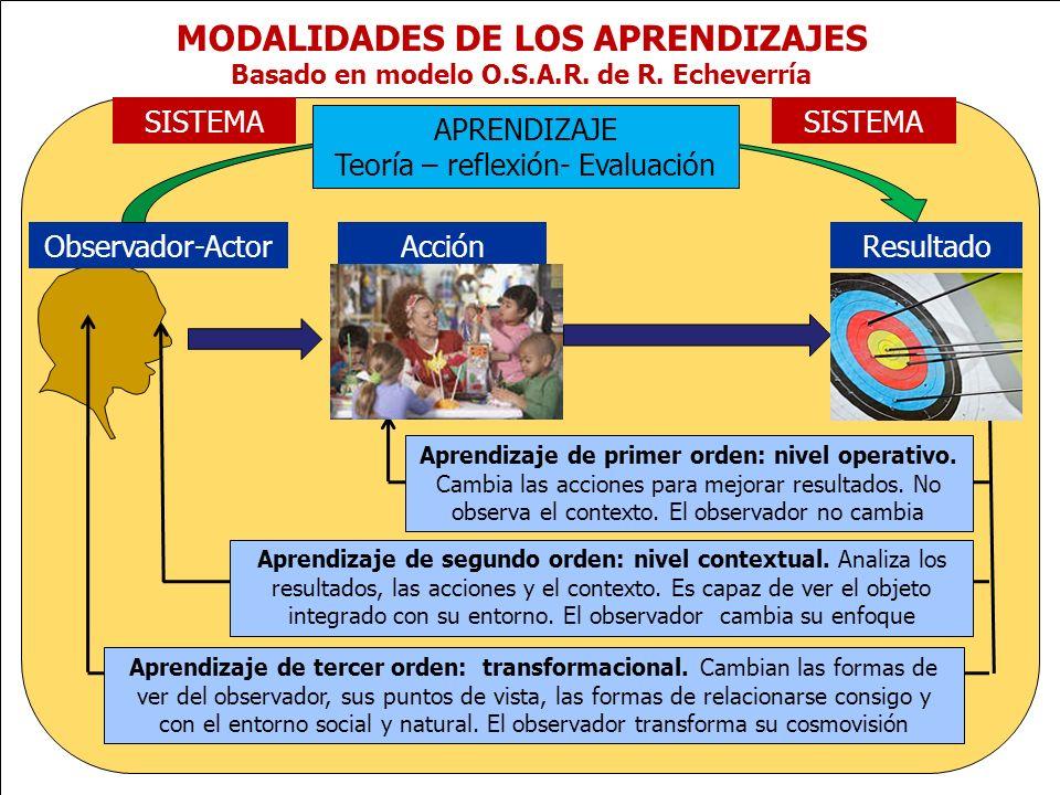www.plandecenal.edu.co Un pacto social por el derecho a la educación MODALIDADES DE LOS APRENDIZAJES Basado en modelo O.S.A.R. de R. Echeverría Observ