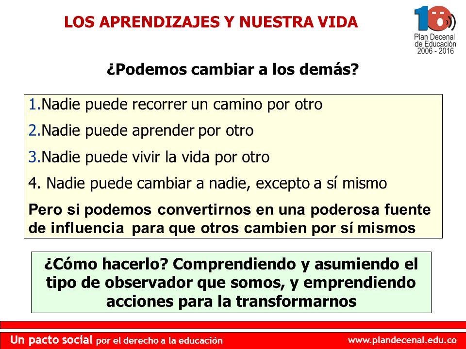 www.plandecenal.edu.co Un pacto social por el derecho a la educación ¿Podemos cambiar a los demás? 9 1.Nadie puede recorrer un camino por otro 2.Nadie
