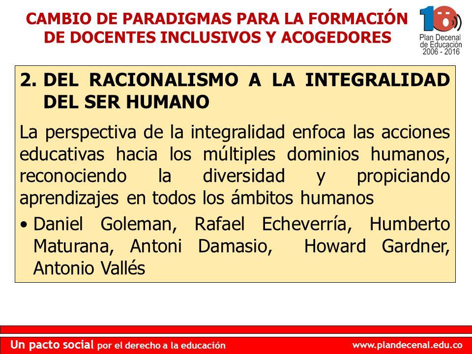 www.plandecenal.edu.co Un pacto social por el derecho a la educación 2.DEL RACIONALISMO A LA INTEGRALIDAD DEL SER HUMANO La perspectiva de la integral