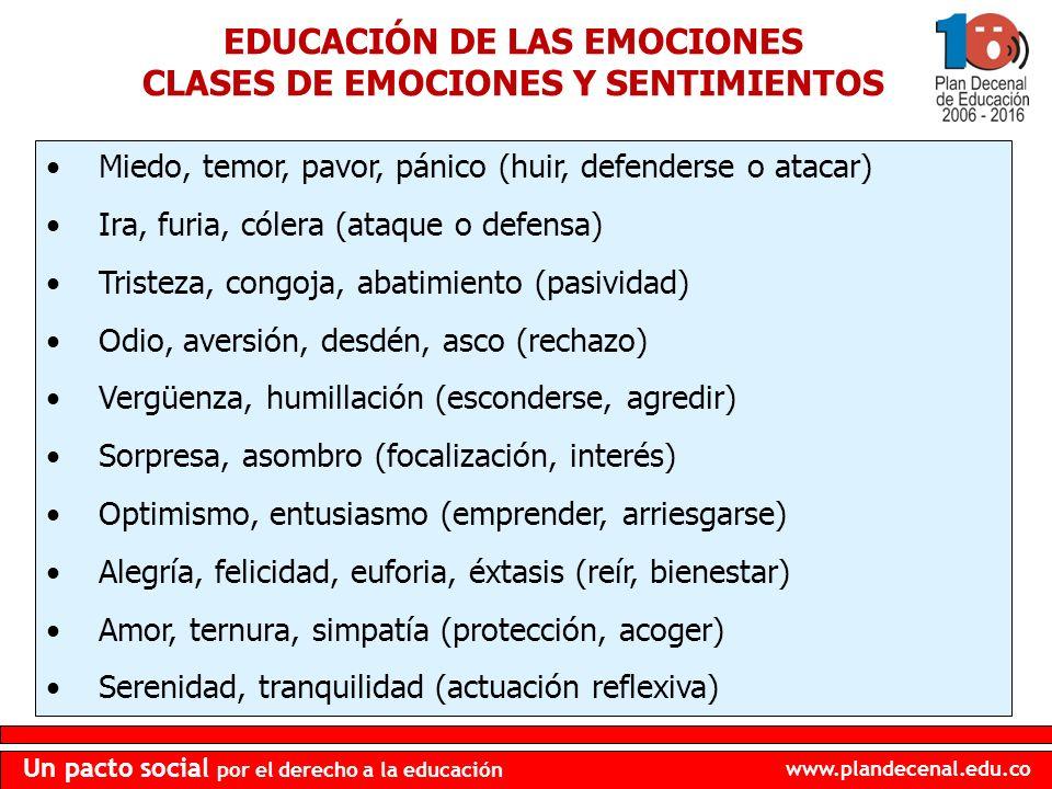 www.plandecenal.edu.co Un pacto social por el derecho a la educación EDUCACIÓN DE LAS EMOCIONES CLASES DE EMOCIONES Y SENTIMIENTOS Miedo, temor, pavor