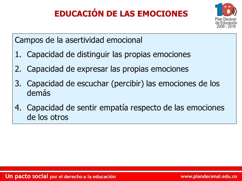 www.plandecenal.edu.co Un pacto social por el derecho a la educación EDUCACIÓN DE LAS EMOCIONES Campos de la asertividad emocional 1.Capacidad de dist