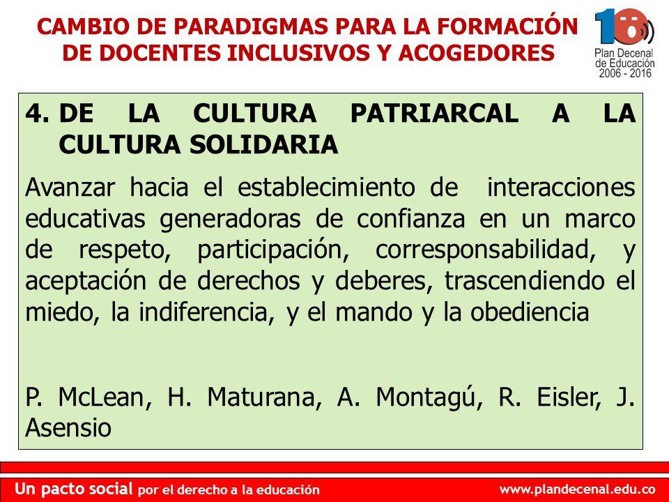 www.plandecenal.edu.co Un pacto social por el derecho a la educación 4.DE LA CULTURA PATRIARCAL A LA CULTURA SOLIDARIA Avanzar hacia el establecimient