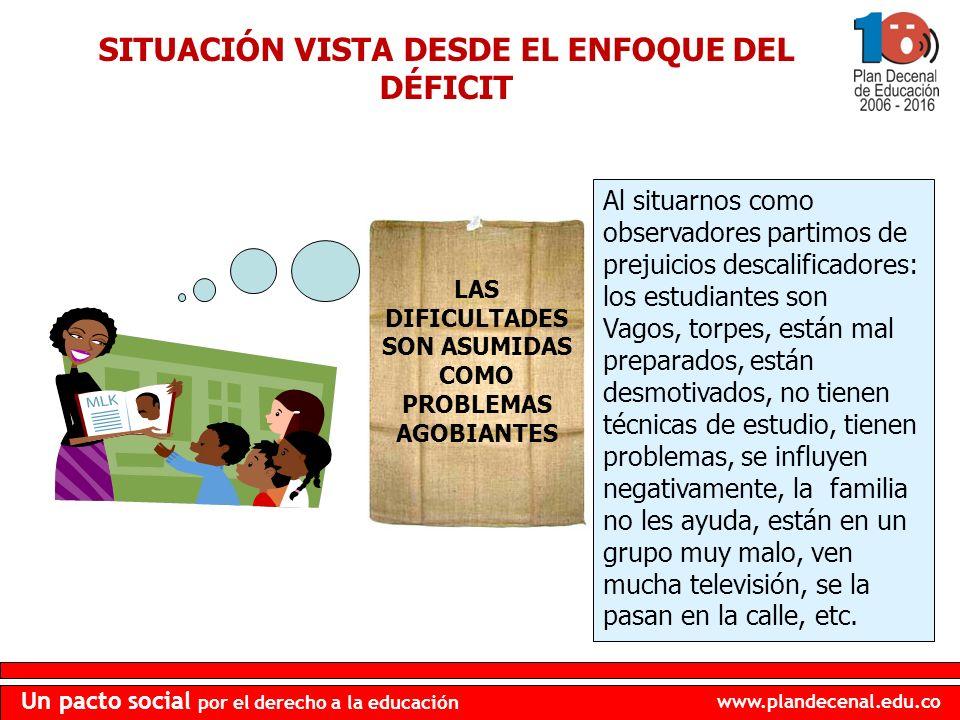 www.plandecenal.edu.co Un pacto social por el derecho a la educación SITUACIÓN VISTA DESDE EL ENFOQUE DEL DÉFICIT LAS DIFICULTADES SON ASUMIDAS COMO P