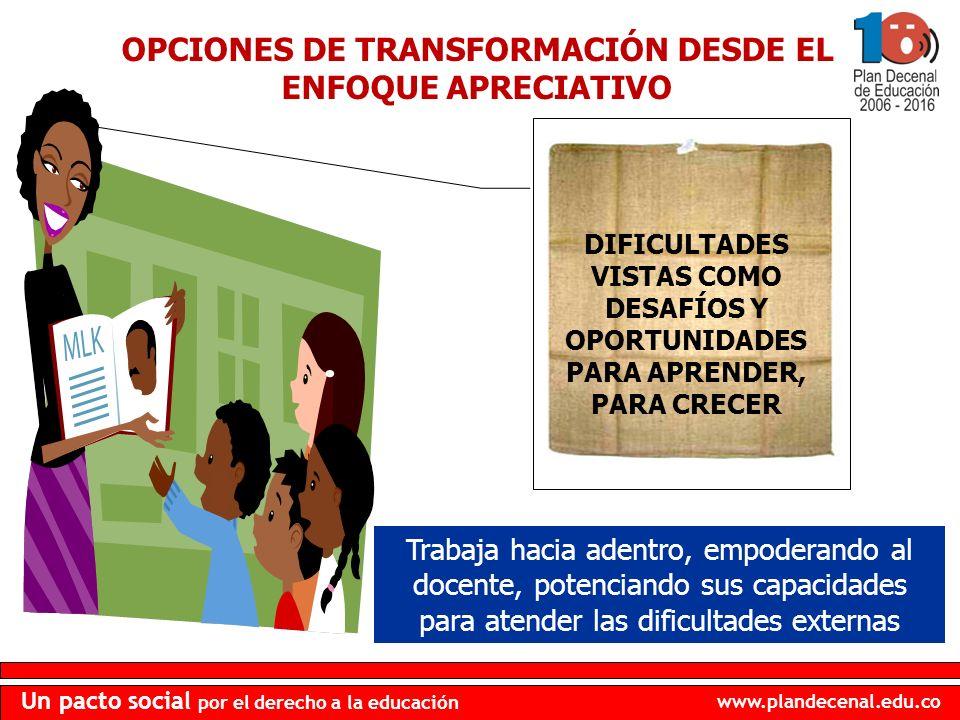 www.plandecenal.edu.co Un pacto social por el derecho a la educación OPCIONES DE TRANSFORMACIÓN DESDE EL ENFOQUE APRECIATIVO DIFICULTADES VISTAS COMO