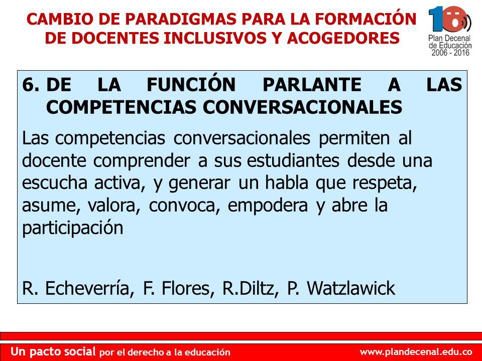 www.plandecenal.edu.co Un pacto social por el derecho a la educación 6.DE LA FUNCIÓN PARLANTE A LAS COMPETENCIAS CONVERSACIONALES Las competencias con