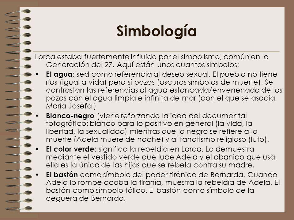 Simbología Lorca estaba fuertemente influido por el simbolismo, común en la Generación del 27. Aquí están unos cuantos símbolos: El agua : sed como re