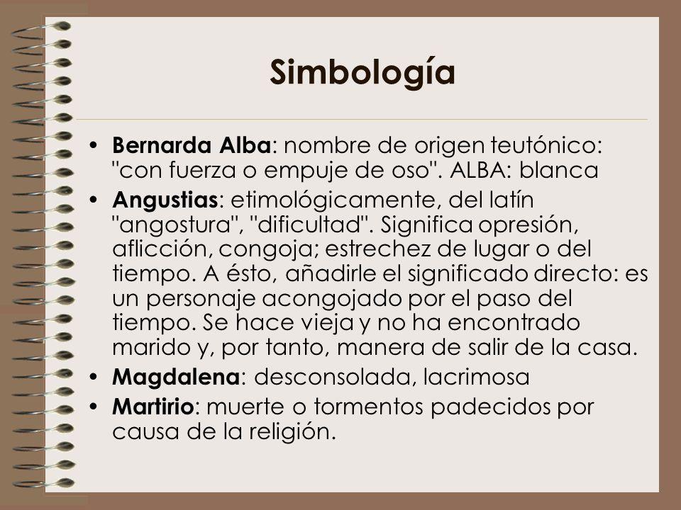 Simbología Bernarda Alba : nombre de origen teutónico: