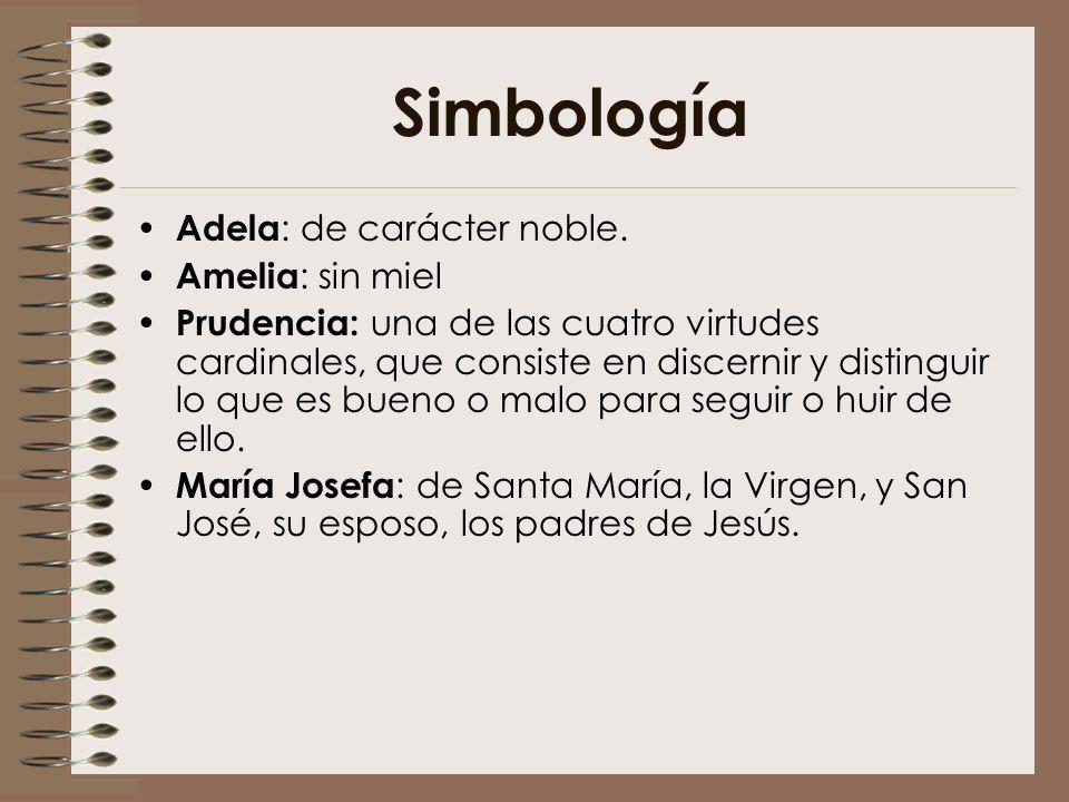 Simbología Adela : de carácter noble. Amelia : sin miel Prudencia: una de las cuatro virtudes cardinales, que consiste en discernir y distinguir lo qu