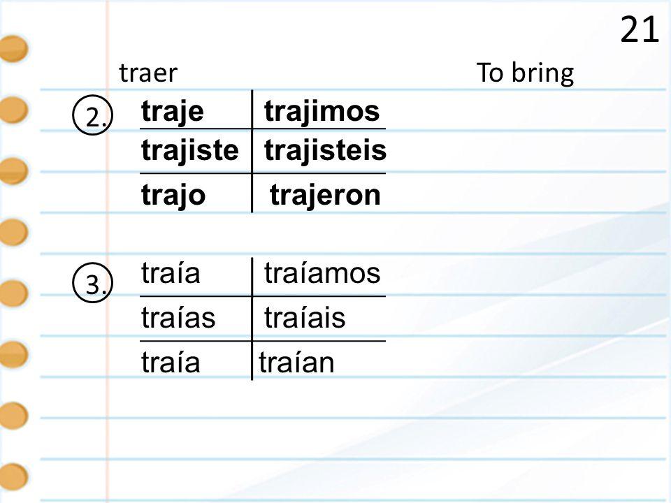 21 To bringtraer 2.traje trajiste trajo trajisteis trajeron trajimos 3.