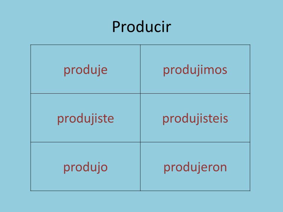 Producir produjeprodujimos produjisteprodujisteis produjoprodujeron