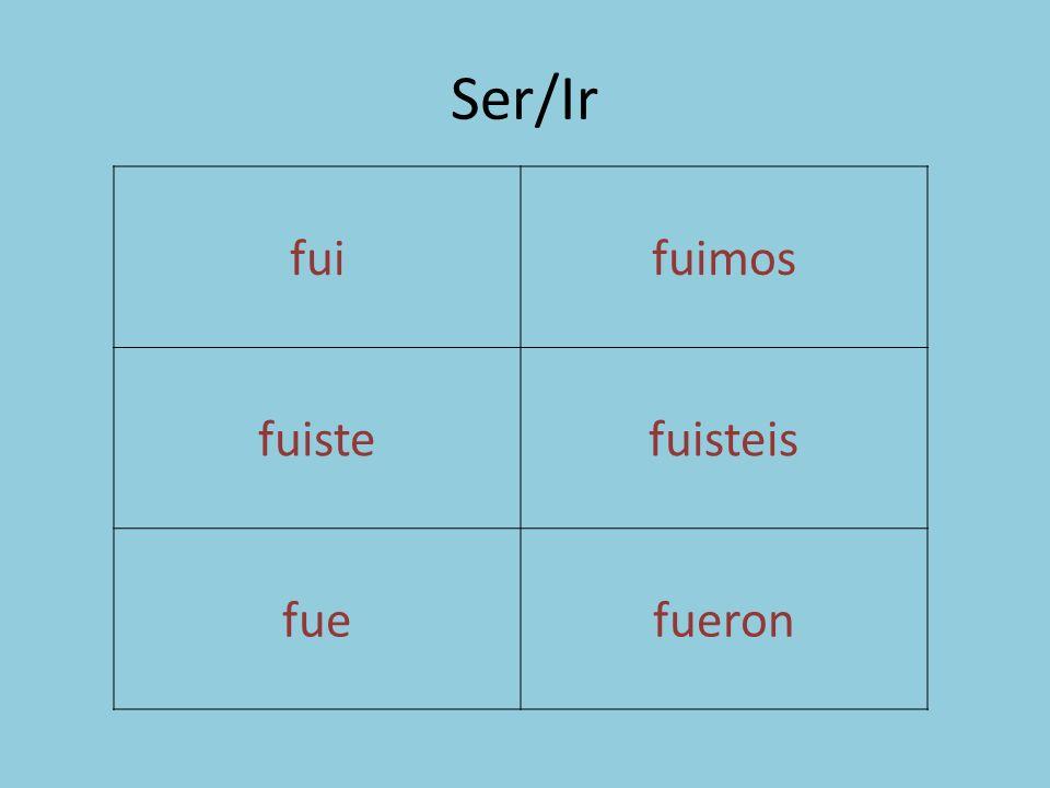 Ser/Ir fuifuimos fuistefuisteis fuefueron