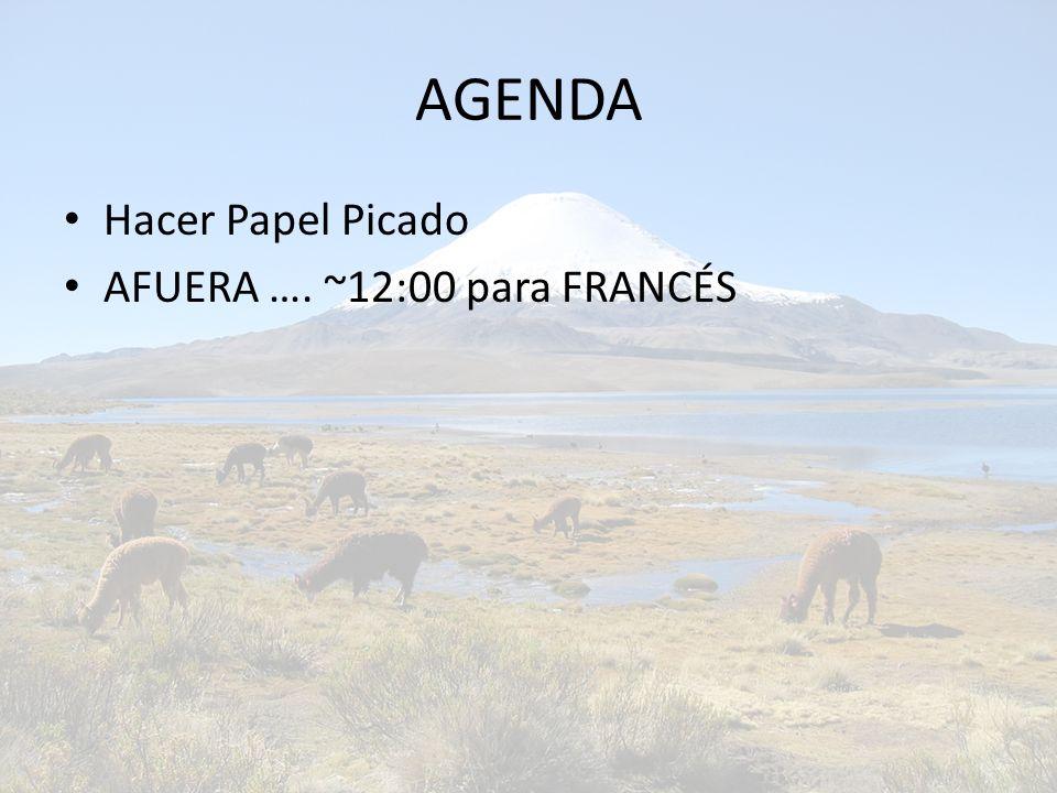 AGENDA Hacer Papel Picado AFUERA …. ~12:00 para FRANCÉS