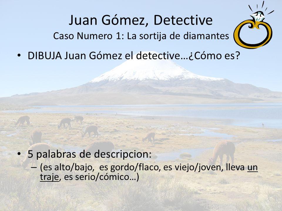 Juan Gómez, Detective Caso Numero 1: La sortija de diamantes DIBUJA Juan Gómez el detective…¿Cómo es? 5 palabras de descripcion: – (es alto/bajo, es g