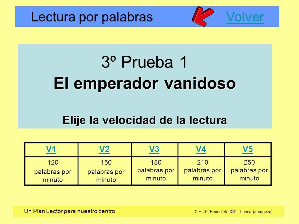 Lectura por palabras VolverVolver Un Plan Lector para nuestro centro C.E.I.P Benedicto XIII- Illueca (Zaragoza) V1 V2 V3 V4 V5 120 palabras por minuto