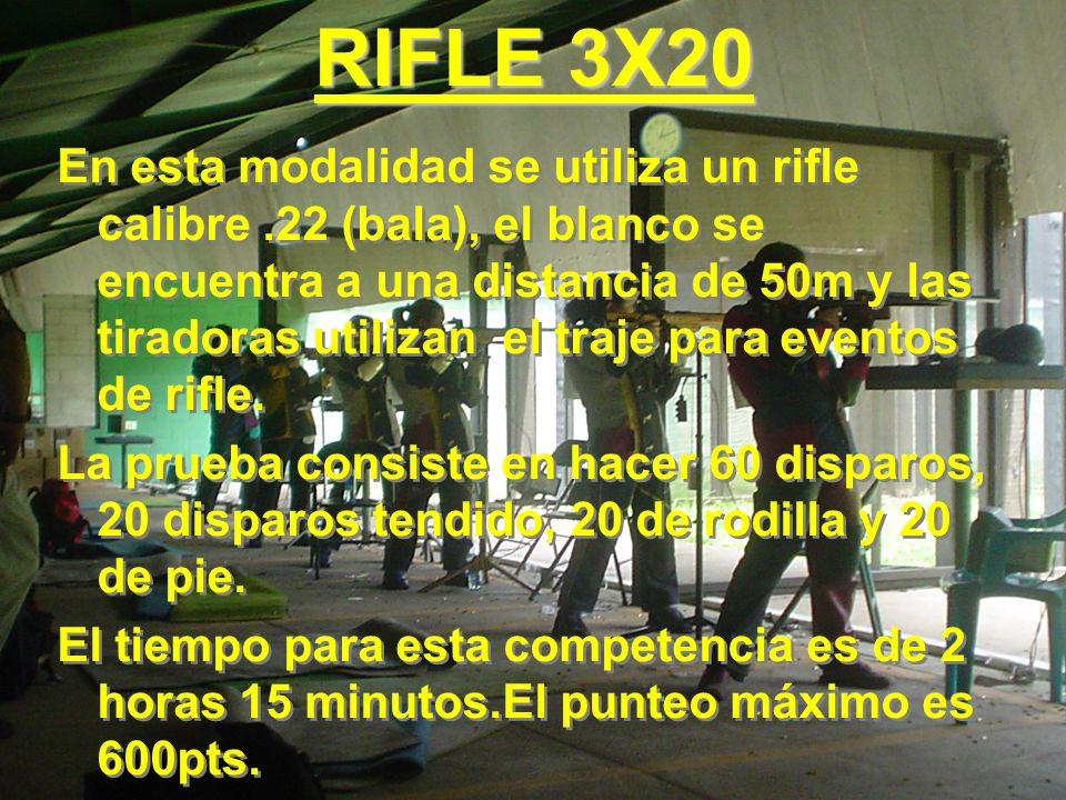 RIFLE 3X20 En esta modalidad se utiliza un rifle calibre.22 (bala), el blanco se encuentra a una distancia de 50m y las tiradoras utilizan el traje pa