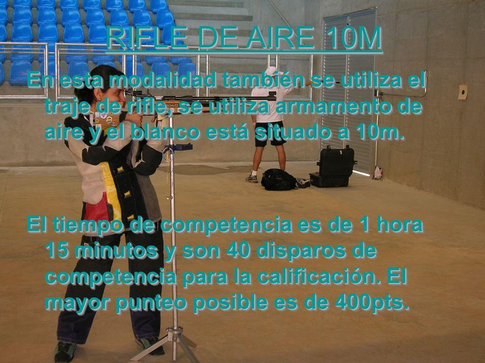 RIFLE DE AIRE 10M En esta modalidad también se utiliza el traje de rifle, se utiliza armamento de aire y el blanco está situado a 10m. El tiempo de co