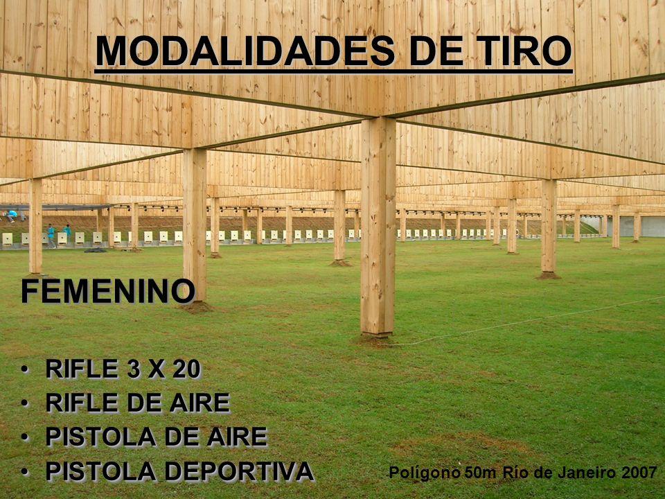 MODALIDADES DE TIRO FEMENINO RIFLE 3 X 20RIFLE 3 X 20 RIFLE DE AIRERIFLE DE AIRE PISTOLA DE AIREPISTOLA DE AIRE PISTOLA DEPORTIVAPISTOLA DEPORTIVA FEM