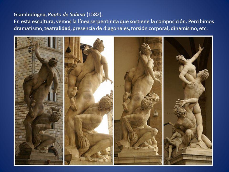 Giambologna, Rapto de Sabina (1582). En esta escultura, vemos la línea serpentinita que sostiene la composición. Percibimos dramatismo, teatralidad, p