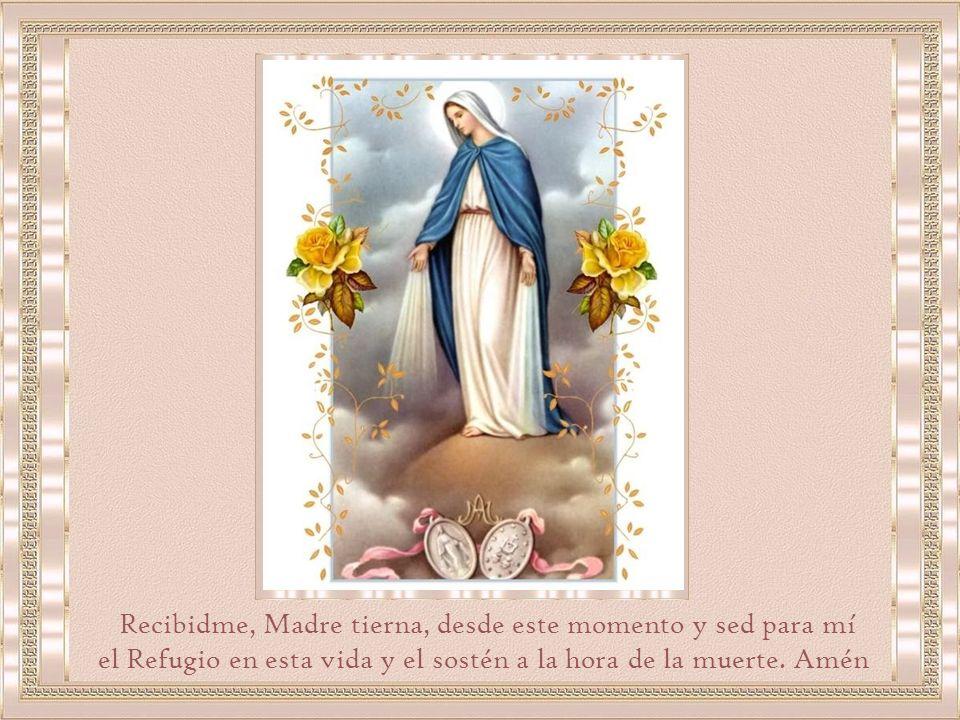 Yo os prometo, Virgen Purísima, no olvidaros jamás, ni vuestro culto ni los intereses de vuestra gloria, a la vez que os prometo también promover en los que me rodean vuestro Amor.