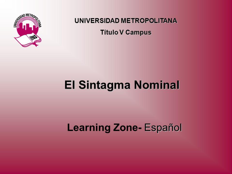 El Sintagma Nominal Español Learning Zone- Español UNIVERSIDAD METROPOLITANA Título V Campus