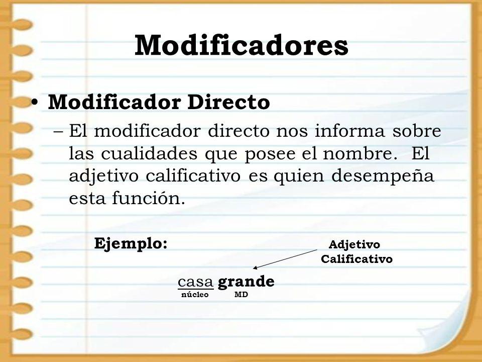 Modificadores Modificador Directo –El modificador directo nos informa sobre las cualidades que posee el nombre. El adjetivo calificativo es quien dese