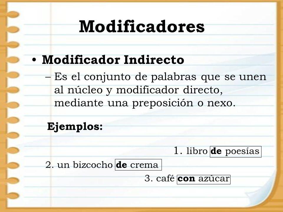 Modificadores Modificador Indirecto –Es el conjunto de palabras que se unen al núcleo y modificador directo, mediante una preposición o nexo. 1. libro