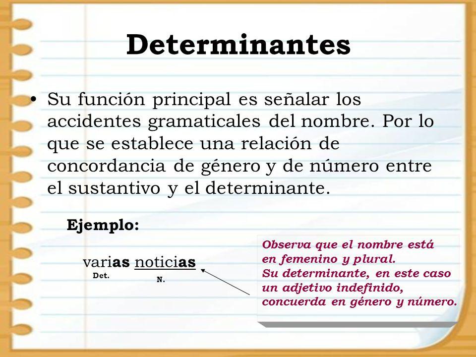 Determinantes Su función principal es señalar los accidentes gramaticales del nombre. Por lo que se establece una relación de concordancia de género y