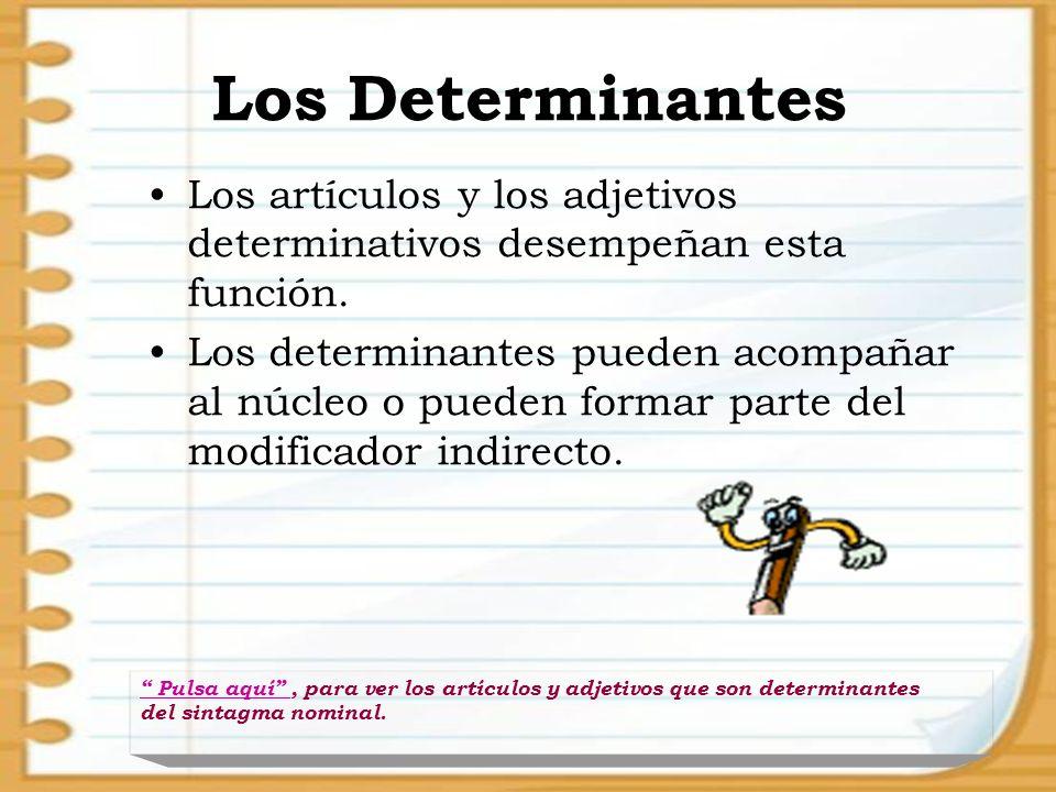 Los Determinantes Los artículos y los adjetivos determinativos desempeñan esta función. Los determinantes pueden acompañar al núcleo o pueden formar p