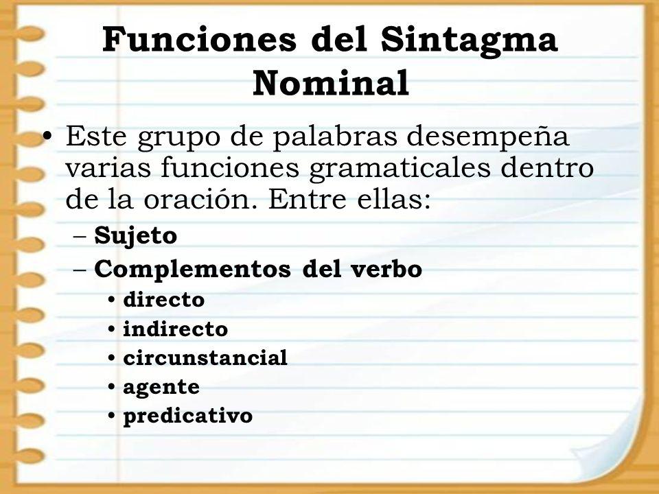 Este grupo de palabras desempeña varias funciones gramaticales dentro de la oración. Entre ellas: – Sujeto – Complementos del verbo directo indirecto
