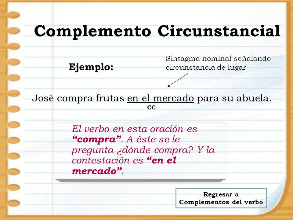 Complemento Circunstancial El verbo en esta oración es compra. A éste se le pregunta ¿dónde compra? Y la contestación es en el mercado. José compra fr