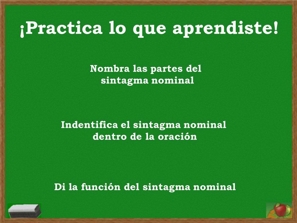 ¡Practica lo que aprendiste! Nombra las partes del sintagma nominal Indentifica el sintagma nominal dentro de la oración Di la función del sintagma no