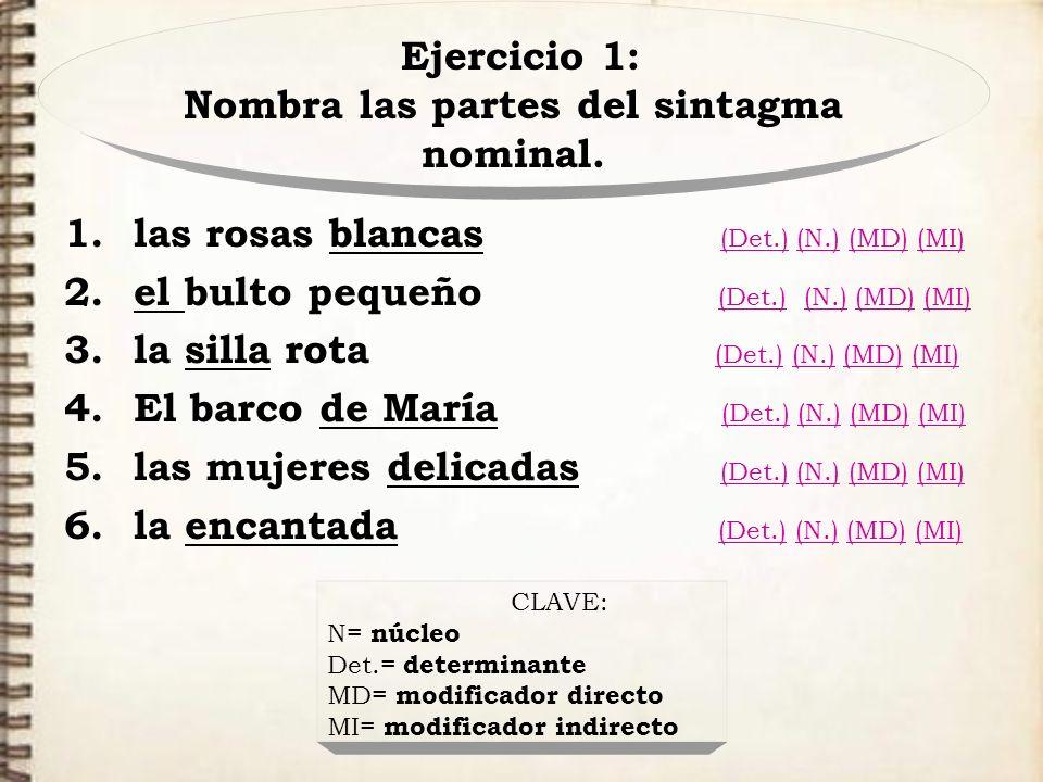 Ejercicio 1: Nombra las partes del sintagma nominal. 1.las rosas blancas (Det.) (N.) (MD) (MI) (Det.)(N.)(MD)(MI) 2.el bulto pequeño (Det.) (N.) (MD)
