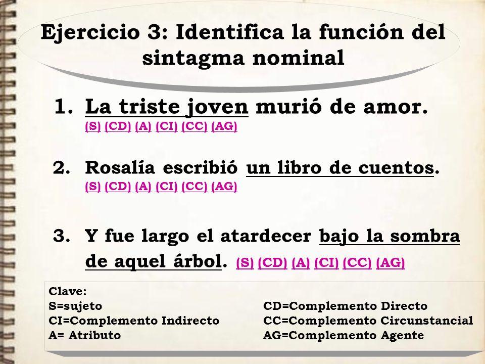 Ejercicio 3: Identifica la función del sintagma nominal 1.La triste joven murió de amor. (S) (CD) (A) (CI) (CC) (AG) (S)(CD)(A)(CI)(CC)(AG) 2.Rosalía