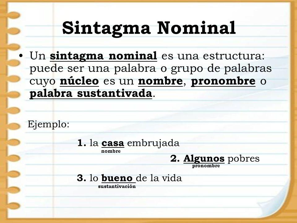 Sintagma Nominal Un sintagma nominal es una estructura: puede ser una palabra o grupo de palabras cuyo núcleo es un nombre, pronombre o palabra sustan