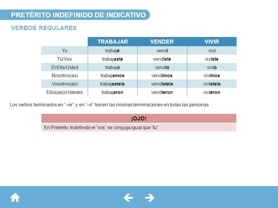PRETÉRITO INDEFINIDO DE INDICATIVO VERBOS REGULARES Los verbos terminados en –er y en –ir tienen las mismas terminaciones en todas las personas. TRABA