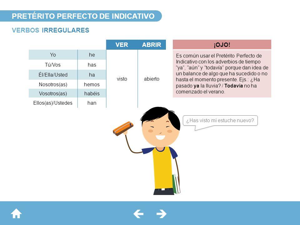 PRETÉRITO PERFECTO DE INDICATIVO VERBOS IRREGULARES VERABRIR¡OJO! Yohe vistoabierto Es común usar el Pretérito Perfecto de Indicativo con los adverbio