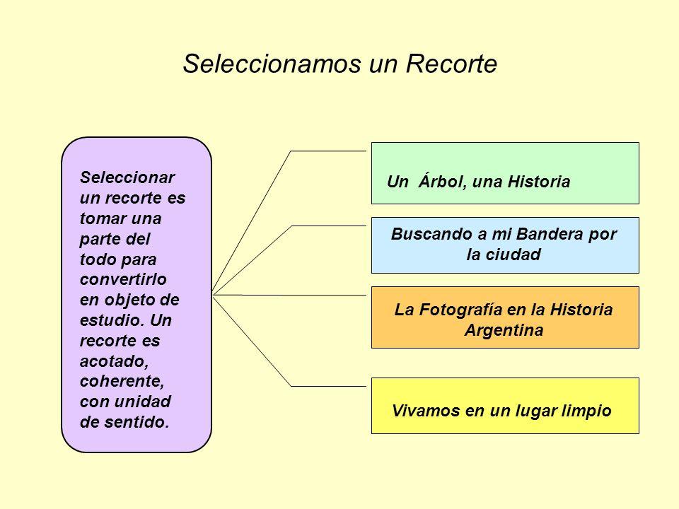 Seleccionamos un Recorte Seleccionar un recorte es tomar una parte del todo para convertirlo en objeto de estudio. Un recorte es acotado, coherente, c