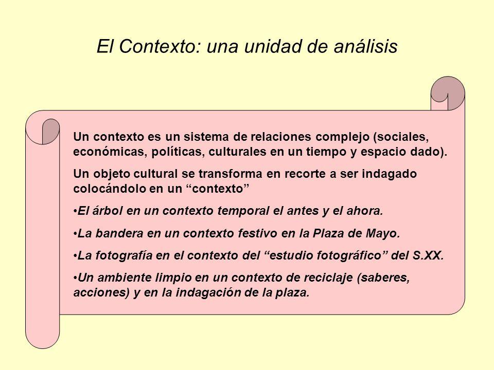 El Contexto: una unidad de análisis Un contexto es un sistema de relaciones complejo (sociales, económicas, políticas, culturales en un tiempo y espac