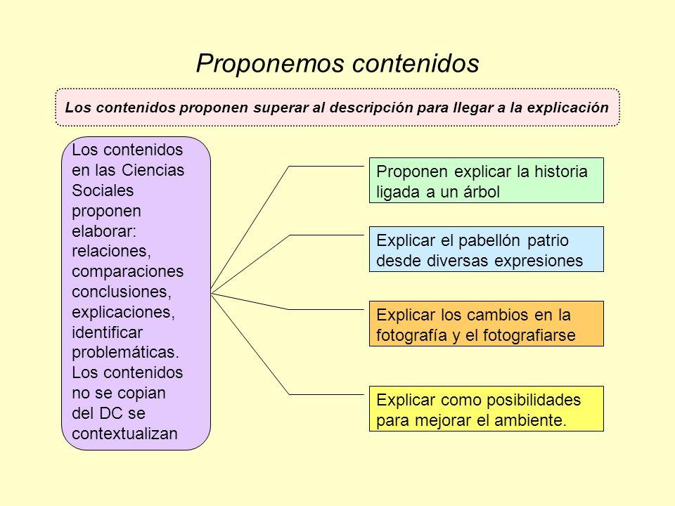Proponemos contenidos Proponen explicar la historia ligada a un árbol Explicar el pabellón patrio desde diversas expresiones Explicar los cambios en l