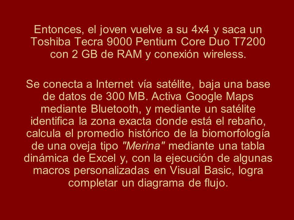 Entonces, el joven vuelve a su 4x4 y saca un Toshiba Tecra 9000 Pentium Core Duo T7200 con 2 GB de RAM y conexión wireless. Se conecta a Internet vía