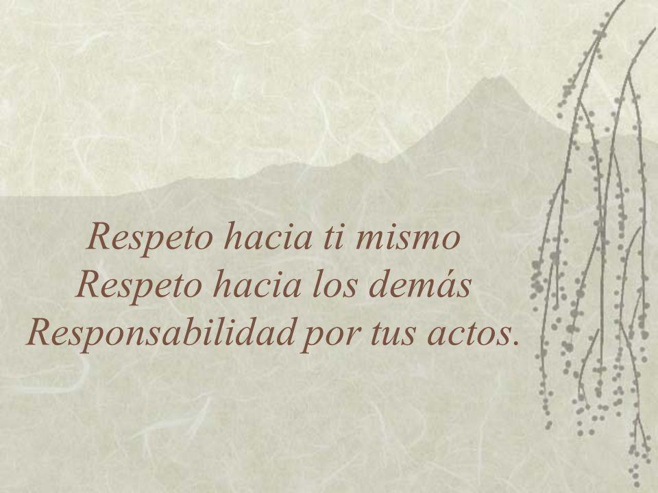 Respeto hacia ti mismo Respeto hacia los demás Responsabilidad por tus actos.