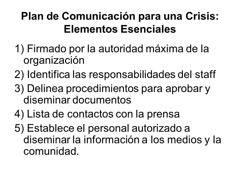 Plan de Comunicación para una Crisis: Elementos Esenciales 1) Firmado por la autoridad máxima de la organización 2) Identifica las responsabilidades d