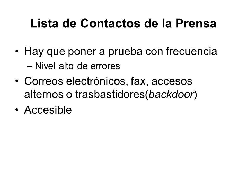 Lista de Contactos de la Prensa Hay que poner a prueba con frecuencia –Nivel alto de errores Correos electrónicos, fax, accesos alternos o trasbastido
