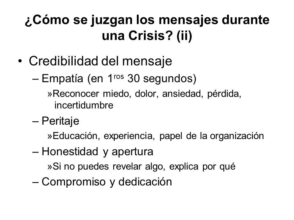 ¿Cómo se juzgan los mensajes durante una Crisis? (ii) Credibilidad del mensaje –Empatía (en 1 ros 30 segundos) »Reconocer miedo, dolor, ansiedad, pérd